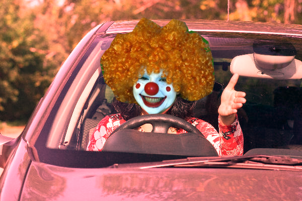 Driver with clown face
